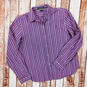 Lauren by Ralph Lauren Purple Cotton Button Down